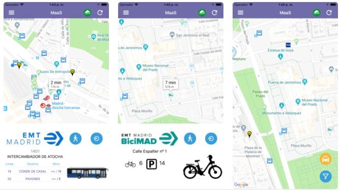 que opciones brinda maas madrid app